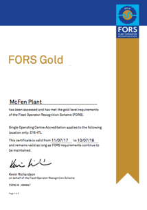 McFen Plant is proud to be the first plant hire company to achieve the prestigious FORS Gold accreditation.